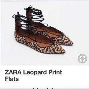 Zara Leopard Calf Hair Flats